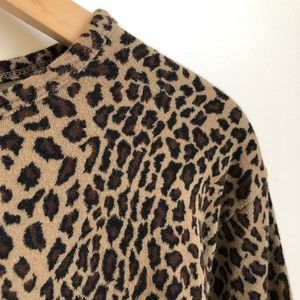 VINTAGE/ animal print boxy casual top - leopard